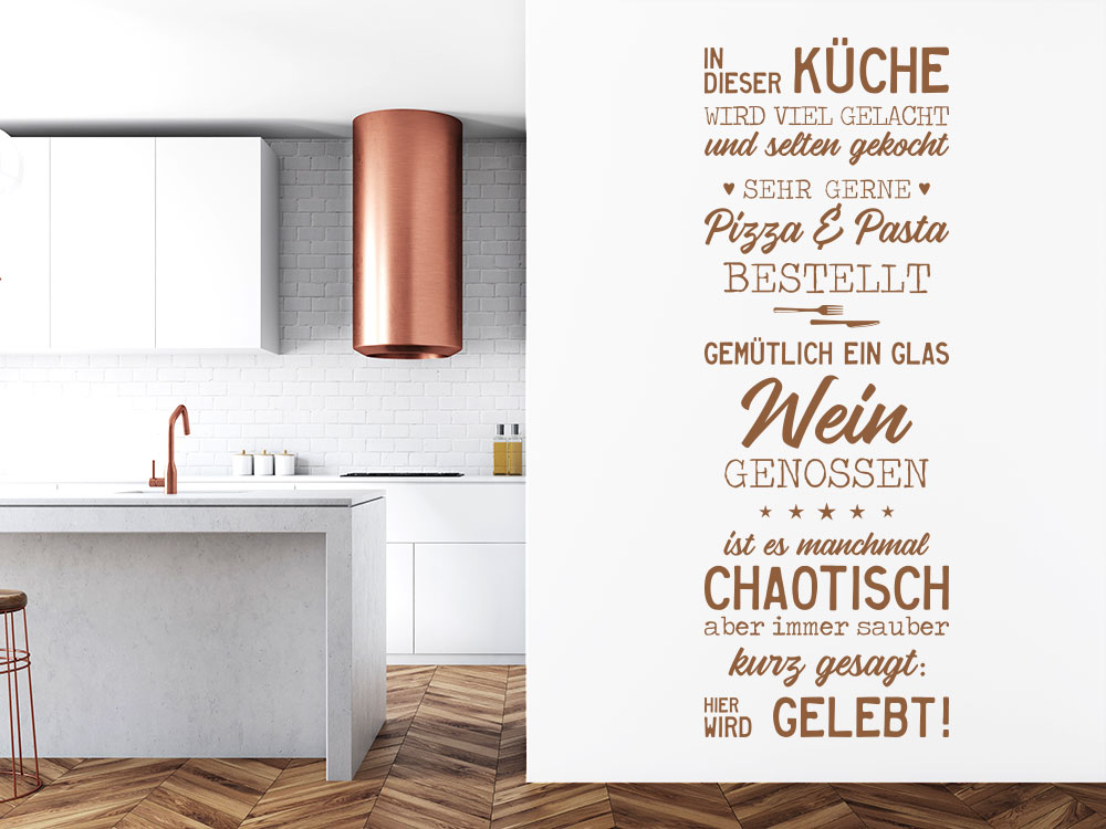 Wandtattoo Wandbanner In dieser Küche auf heller Küchenwand