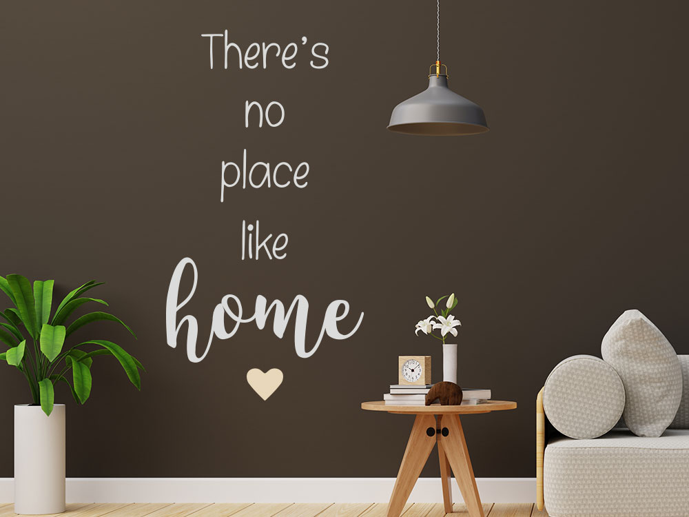 Zweifarbiges Wandtattoo There´s no place like home mit Herz