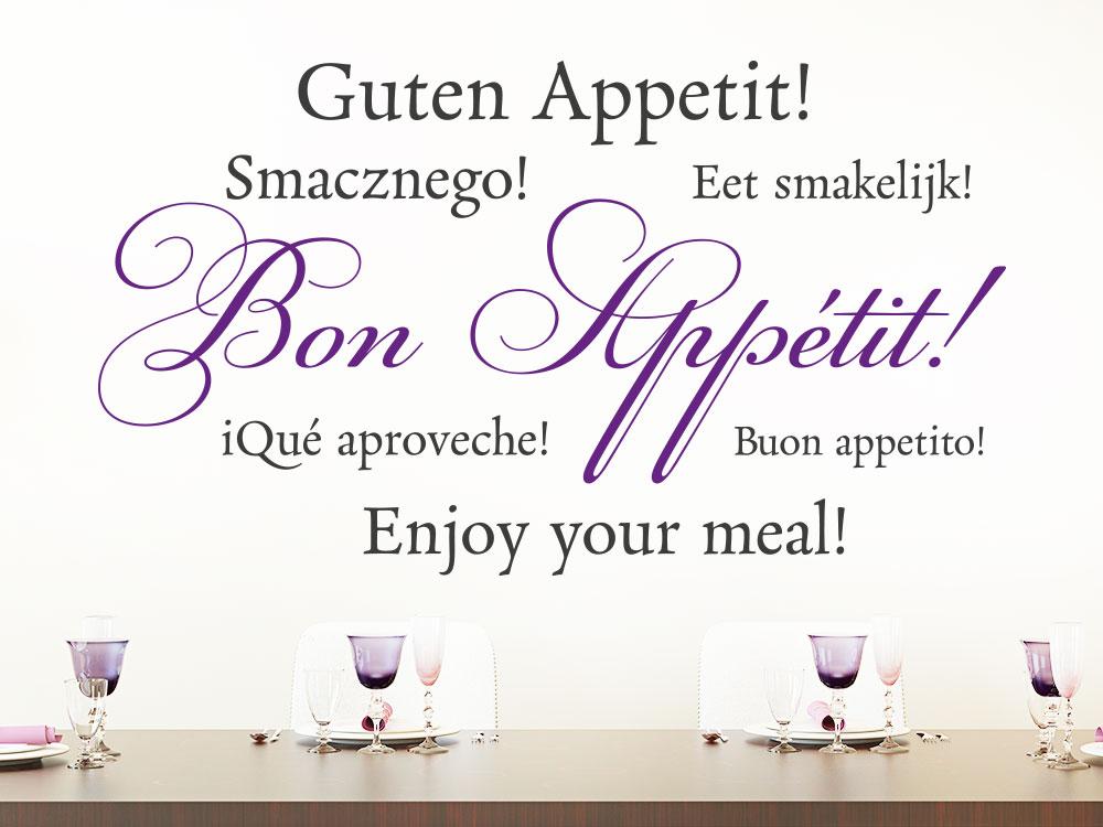 Zweifarbiges Wandtattoo Bon Appétit über Esstisch