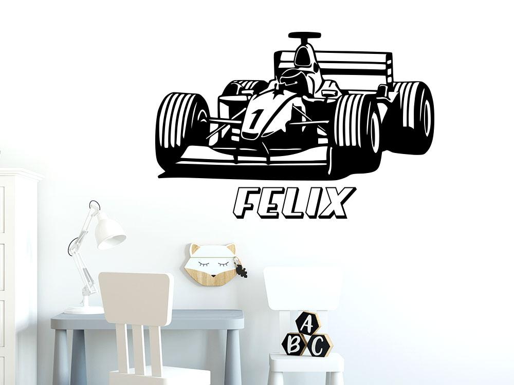 Wandtattoo Formel Auto mit Name