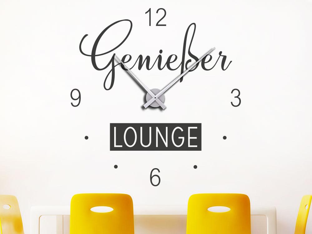 Wandtattoo Uhr Genießer Lounge auf heller Wand