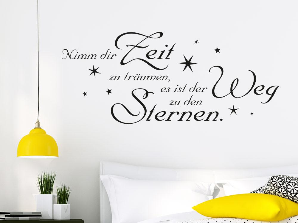 Wandtattoo Nimm dir Zeit zu träumen Wandspruch helle Schlafzimmerwand