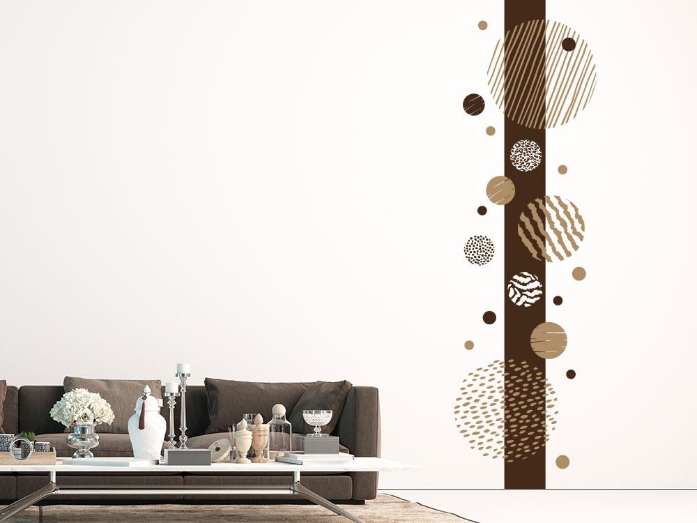 Wandtattoo Wandbanner gemusterte Punkte und Kreise auf heller Wand