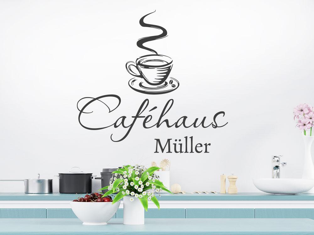 Wandtattoo Caféhaus mit eigenem Namen bzw. Wunschname