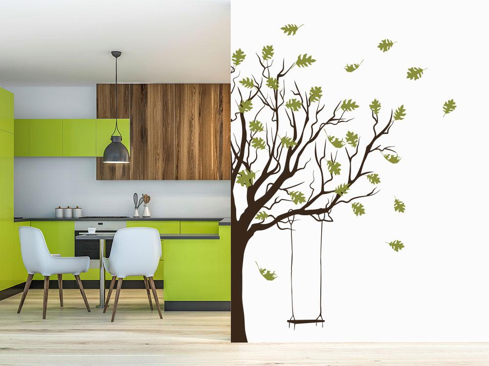 Zweifarbiger Wandtattoo Baum mit Schaukel an Küchenwand