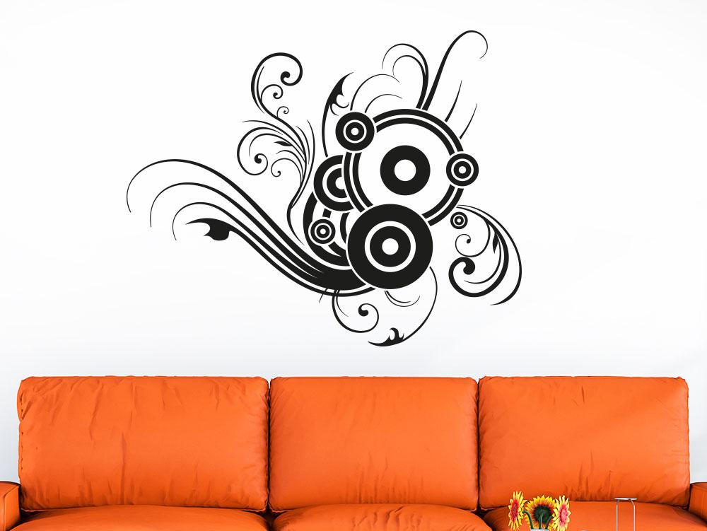 Wandtattoo Ornament mit Kreisen auf heller Wand in der Farbe Schwarz