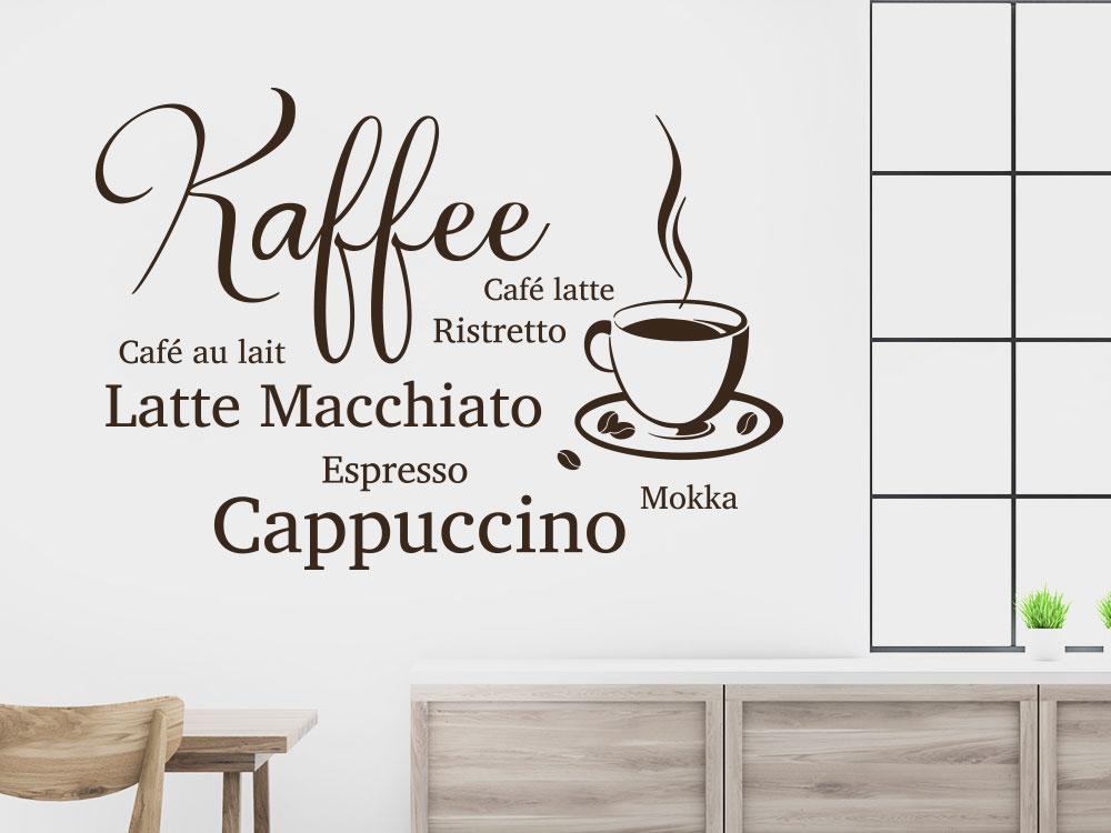 Wandtattoo Café Design und Kaffeebohnen