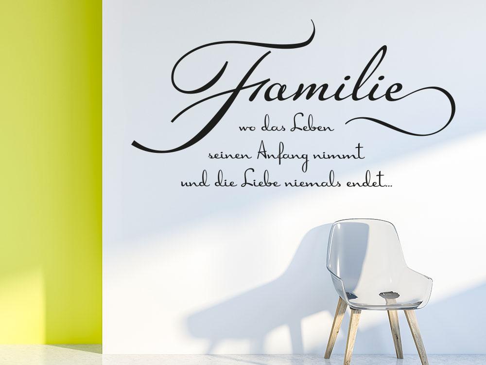 Wandtattoo Familie - Wo das Leben seinen Anfang im Flur