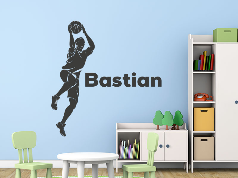Wandtattoo Basketballer mit Name