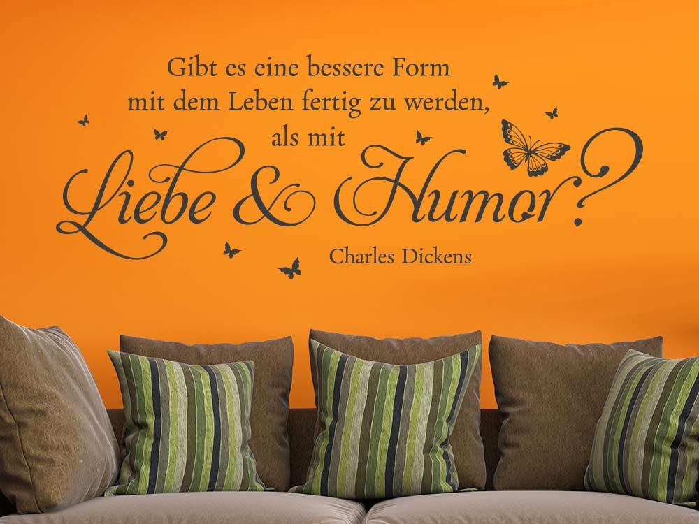 Wandtattoo Liebe und Humor in Farbe dunkelgrau