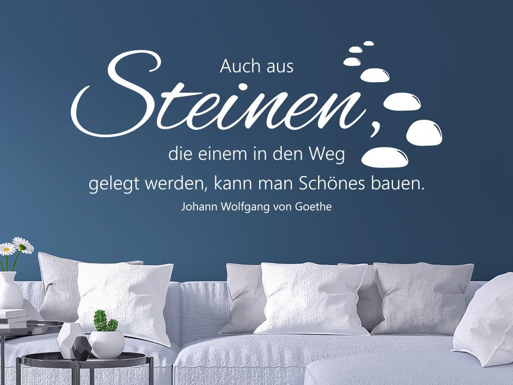 Wandtattoo Auch aus Steinen Zitat Goethe im Wohnzimmer