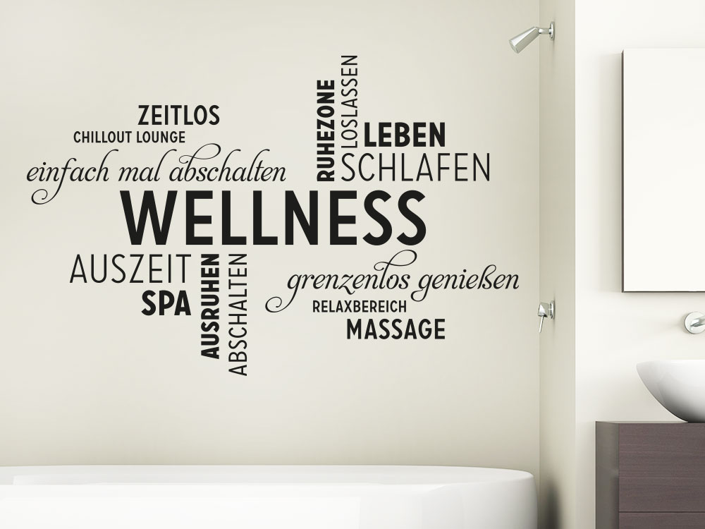 Wandtattoo Wellness Wortwolke