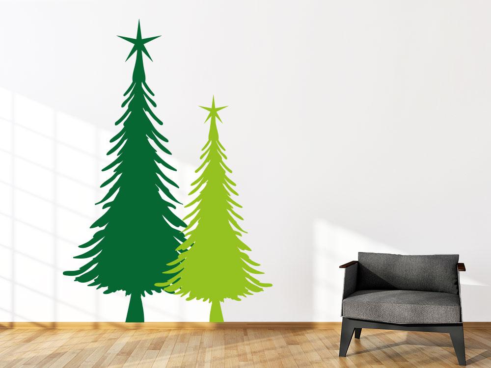 Wandtattoo zweifarbige Weihnachtstanne
