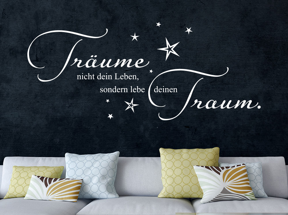 wandtattoo lebe deinen traum mit sternenhimmel klebeheld. Black Bedroom Furniture Sets. Home Design Ideas