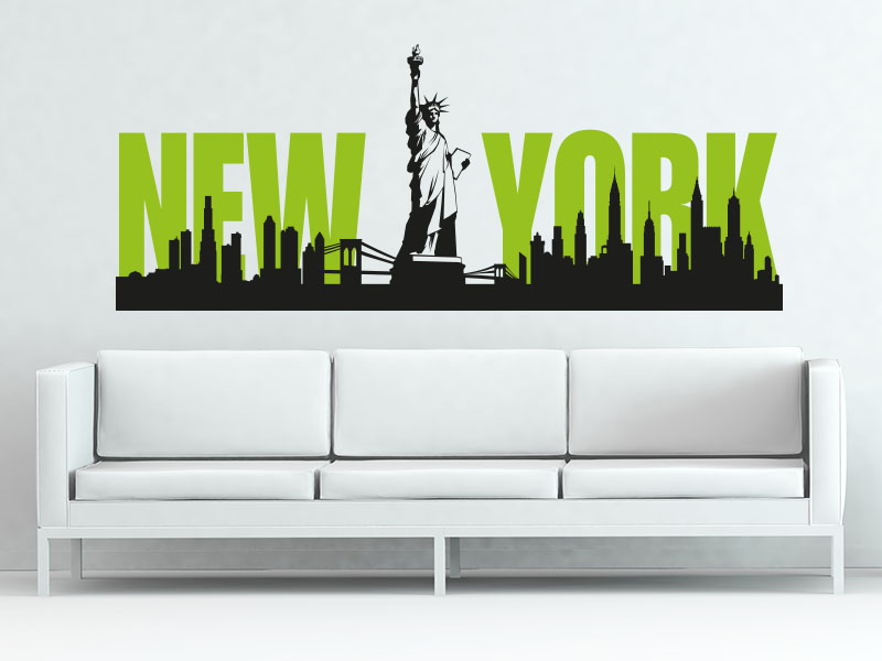 Wandtattoo Skyline New York mit Freiheitsstatue