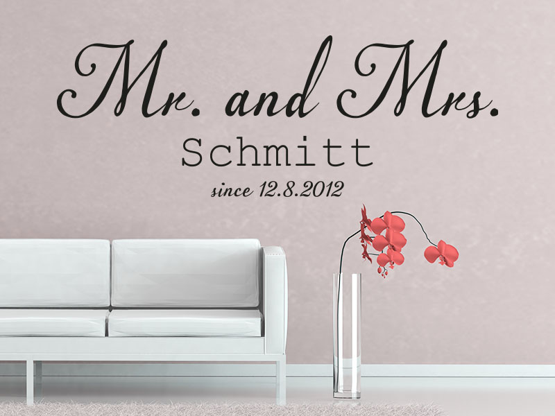 Wandtattoo Mr and Mrs mit Wunschname