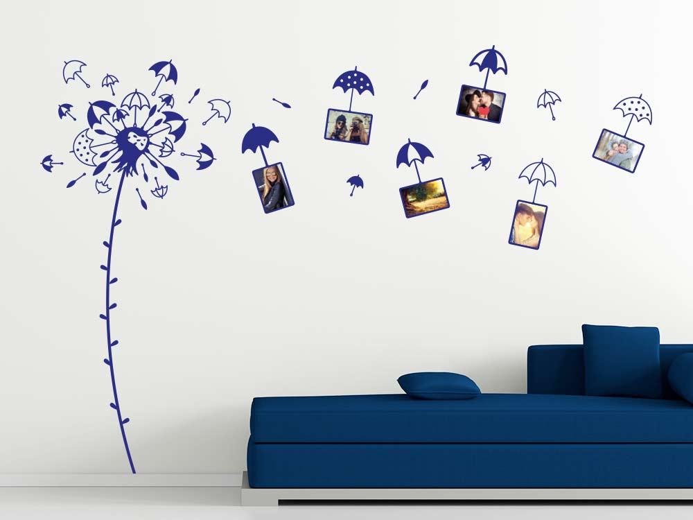 Fotorahmen Wandtattoo Pusteblume mit Regenschirmen