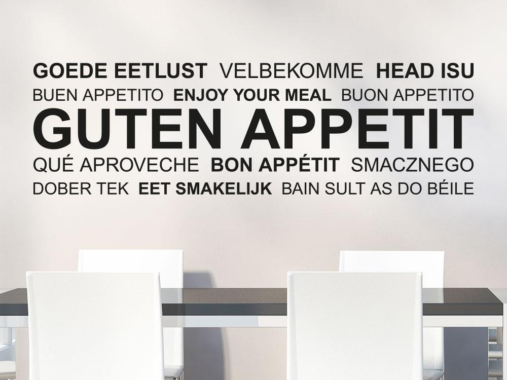 Wandtattoo Wortwolke Guten Appetit mehrsprachig