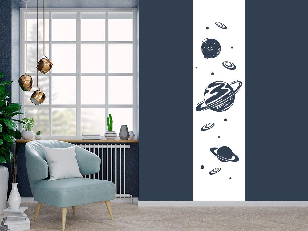 Wandtattoo Banner Universum im Jugendzimmer in Weiß
