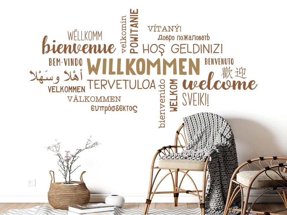 Wandtattoo Willkommen in verschiedenen Sprachen