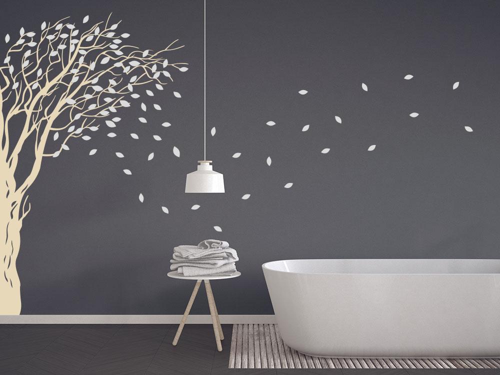 Wandtattoo Baum Wandecke im Badezimmer Farbe beige / hellgrau