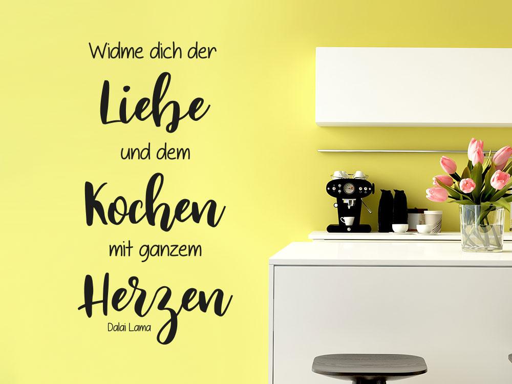 Küchen Wandtattoo Widme dich der Liebe und dem Kochen mit ganzem Herzen.