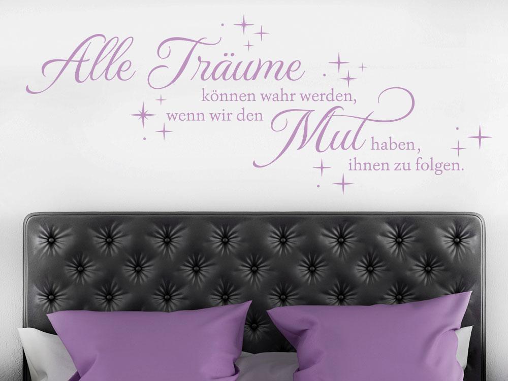 Wandtattoo Alle Träume können wahr werden im Schlafzimmer