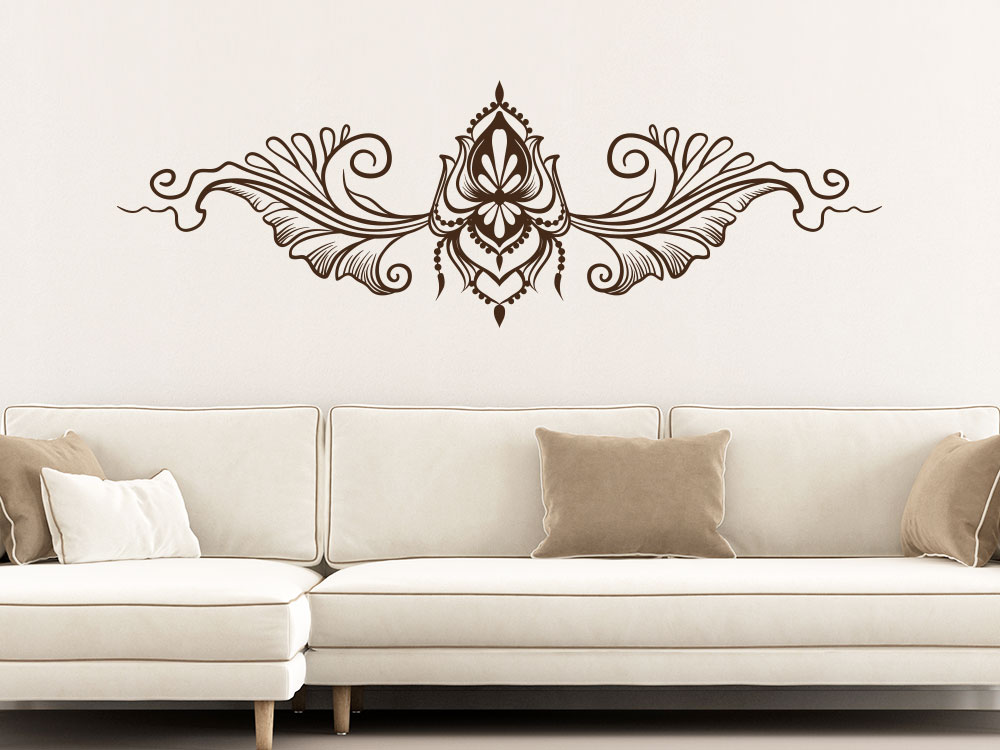 Boho Wandtattoo Ornament als Boho-Style Wanddekoration im Wohnzimmer
