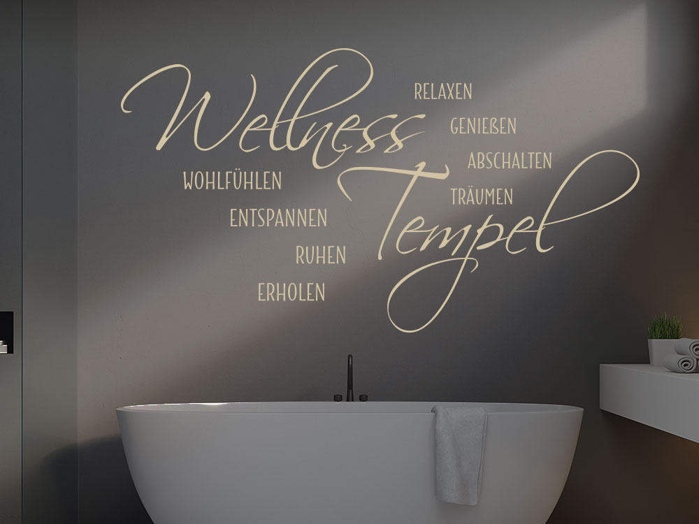 Wandtattoo Wellness Tempel auf dunkler Wand im Badezimmer