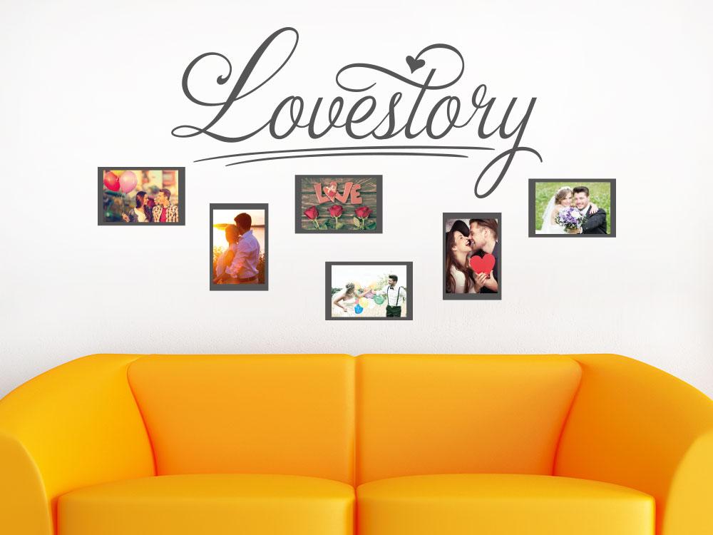 Wandtattoo Lovestory Fotorahmen auf heller Wand im Wohnzimmer