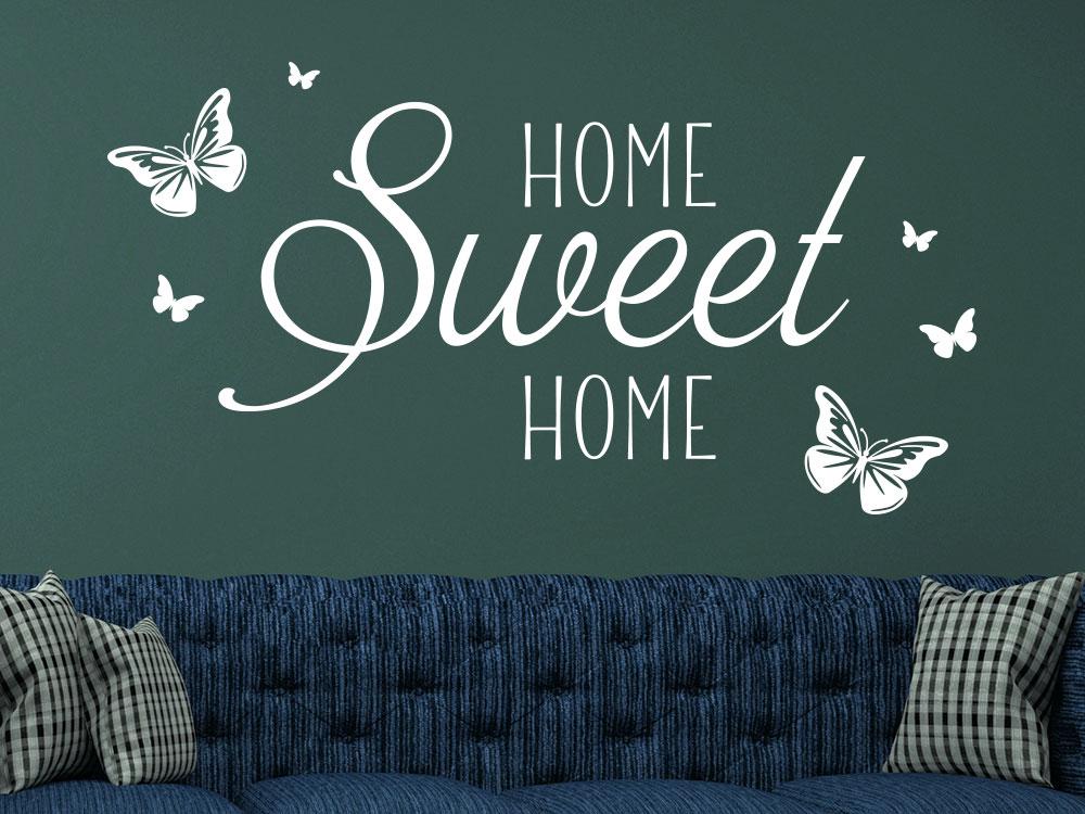 Verspieltes HOME Sweet HOME Wandtattoo mit dekorativen Schmetterlingen
