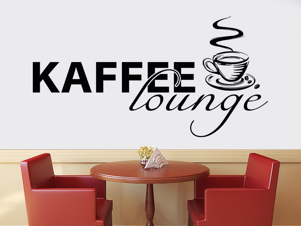 Kaffee Lounge Wandtattoo mit Kaffeetasse