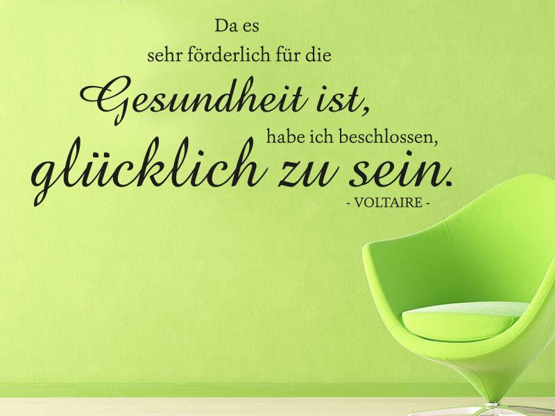 Wandtattoo Gesundheit ist glücklich zu sein... Zitat Voltaire