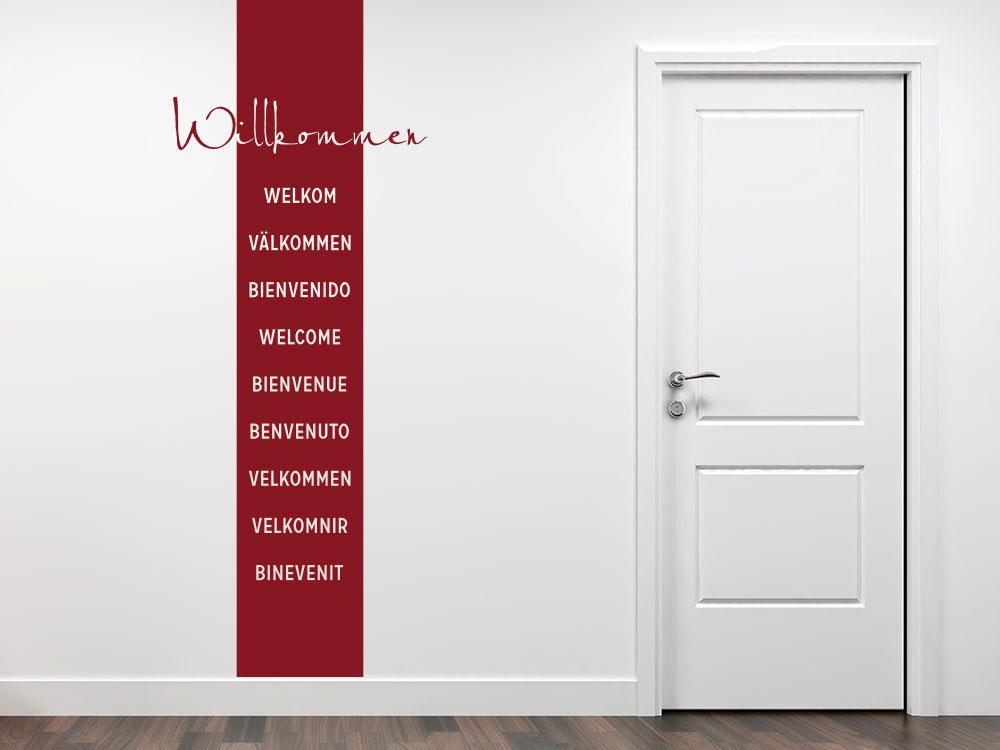 Wandtattoo Wandbanner Willkommen in verschiednen Sprachen