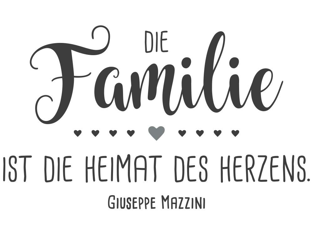 Wandtattoo Die Familie ist die Heimat des Herzens - Gesamtansicht