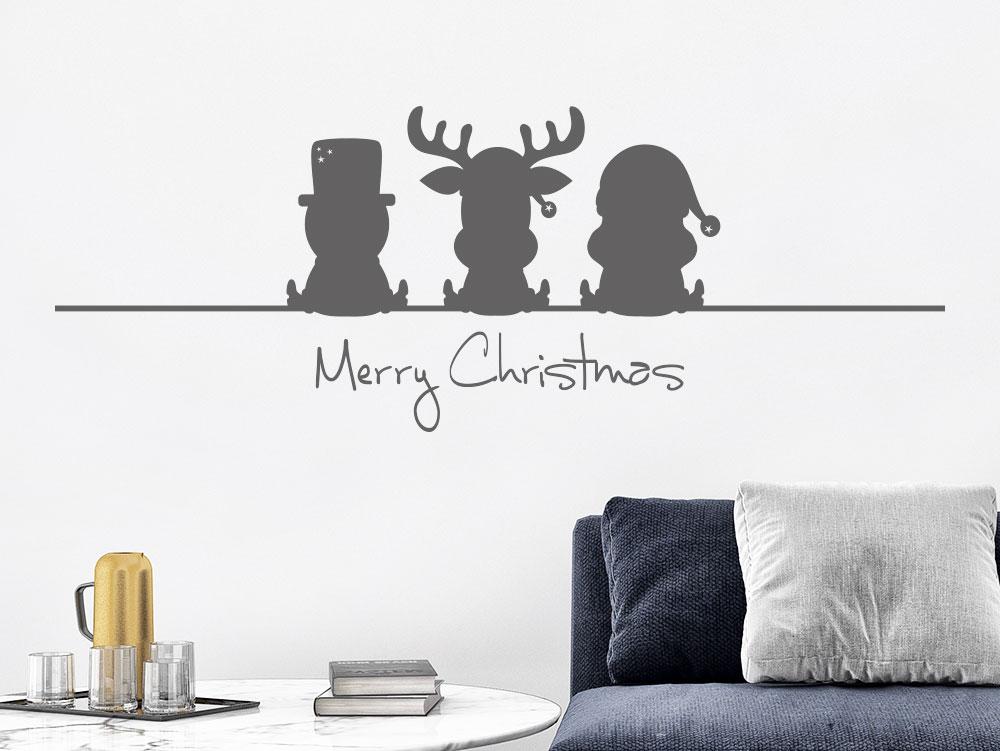 Wandtattoo Lustiger Elch Weihnachtsmann Schneemann mit Schriftzug Merry Christmas