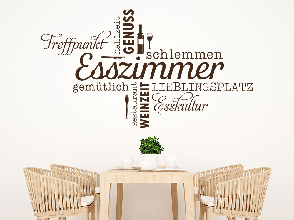 Wandtattoo Esszimmer Wortwolke auf heller Wand über Tisch