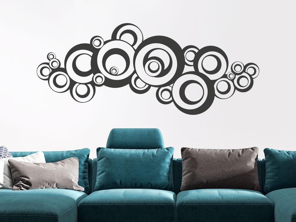 Wandtattoo Ornament Retro Dots im Wohnzimmer