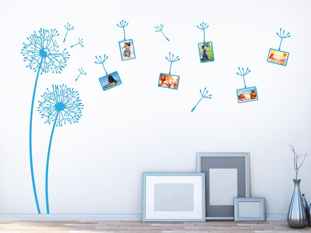 Wandtattoo Pusteblumen mit Fotorahmen auf heller Wand