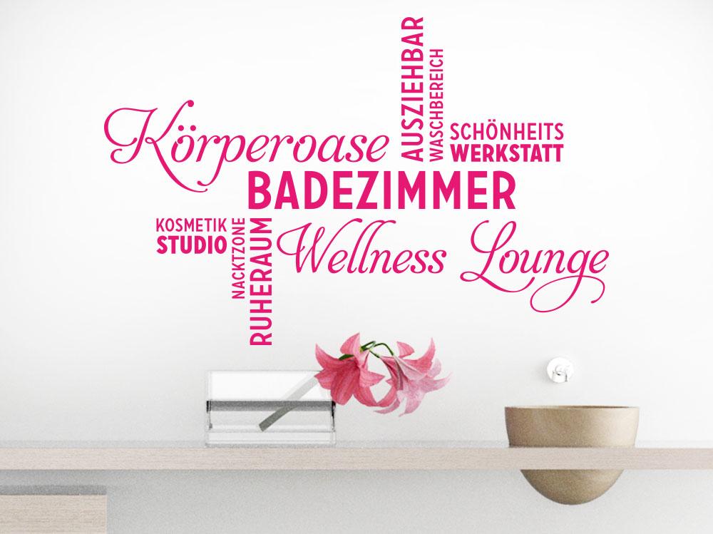 Wandtattoo Badezimmer Wortwolke in pink