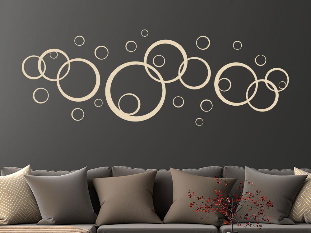 Wandtattoo Ornament Kreise im Wohnzimmer