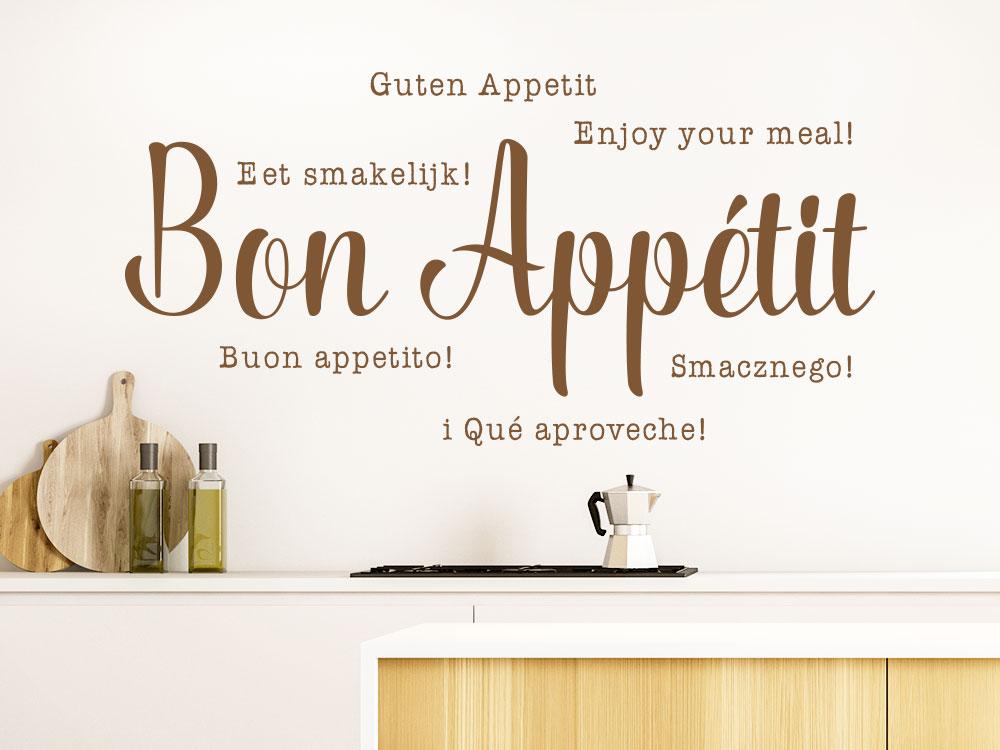 Mehrsprachiges Wandtattoo Bon Appétit in einer Wohnküche