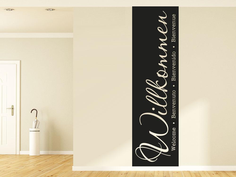 Banner Willkommen Wandtattoo in braun im Eingang