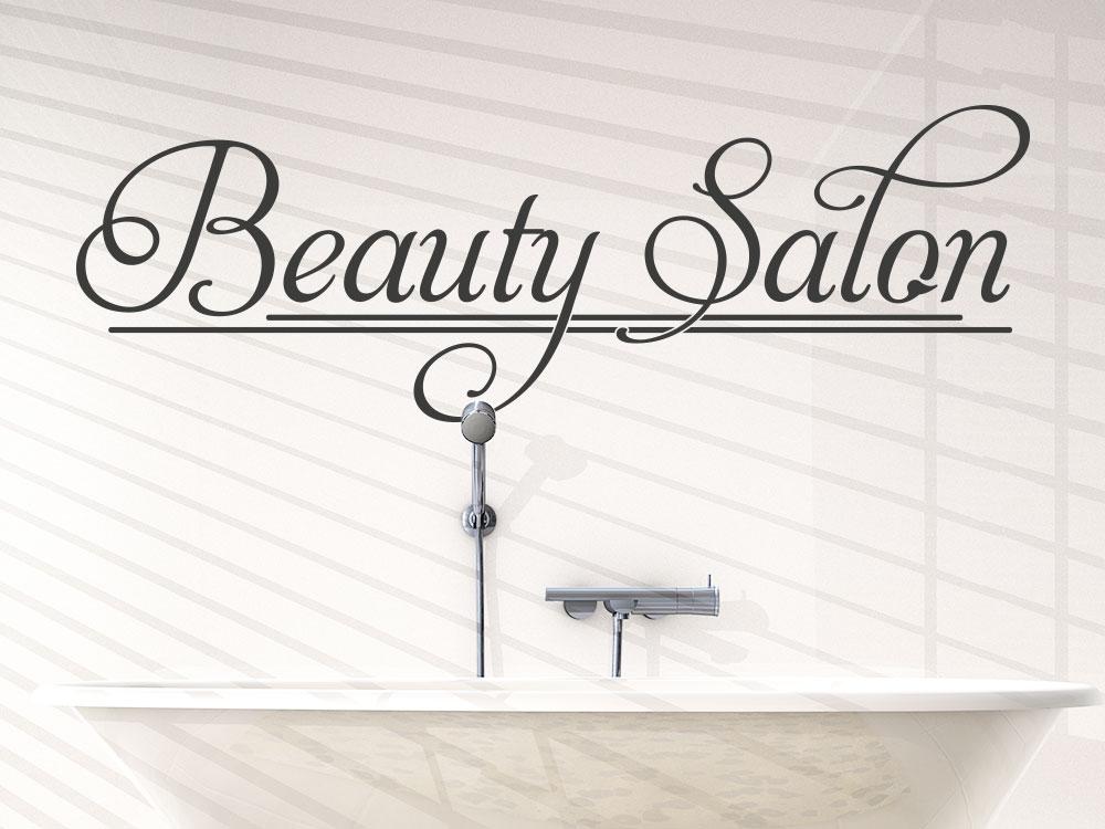 Wandtattoo Beauty Salon auf heller Badezimmerwand