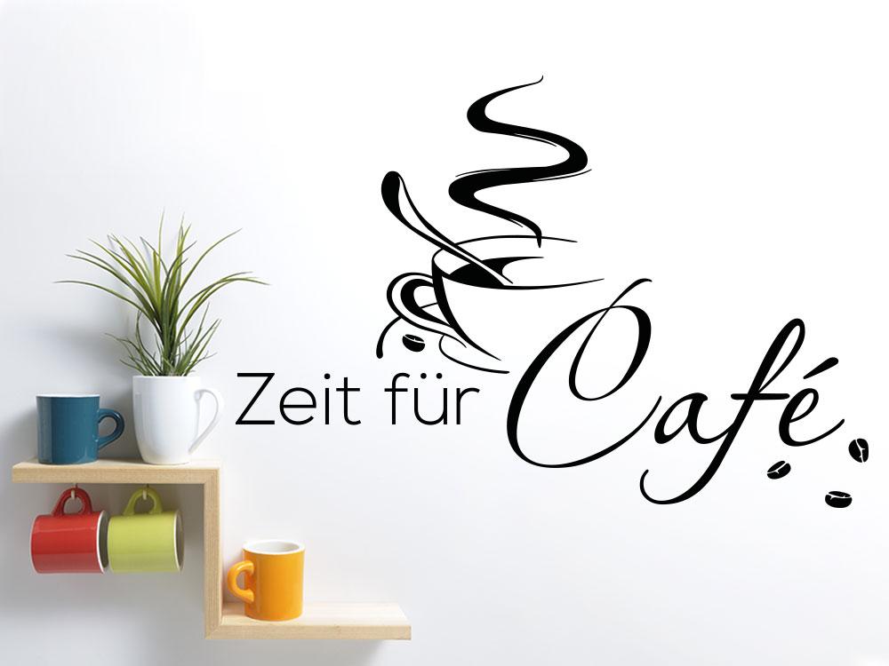 Café Zeit Wandtattoo mit Kaffeetasse und Cafébohnen
