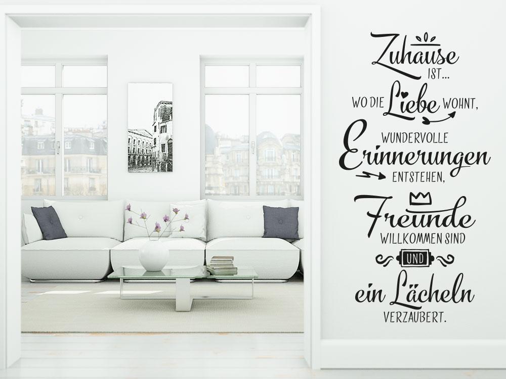 Wandtattoo Zuhause ist wo die Liebe wohnt Wandspruch Flur