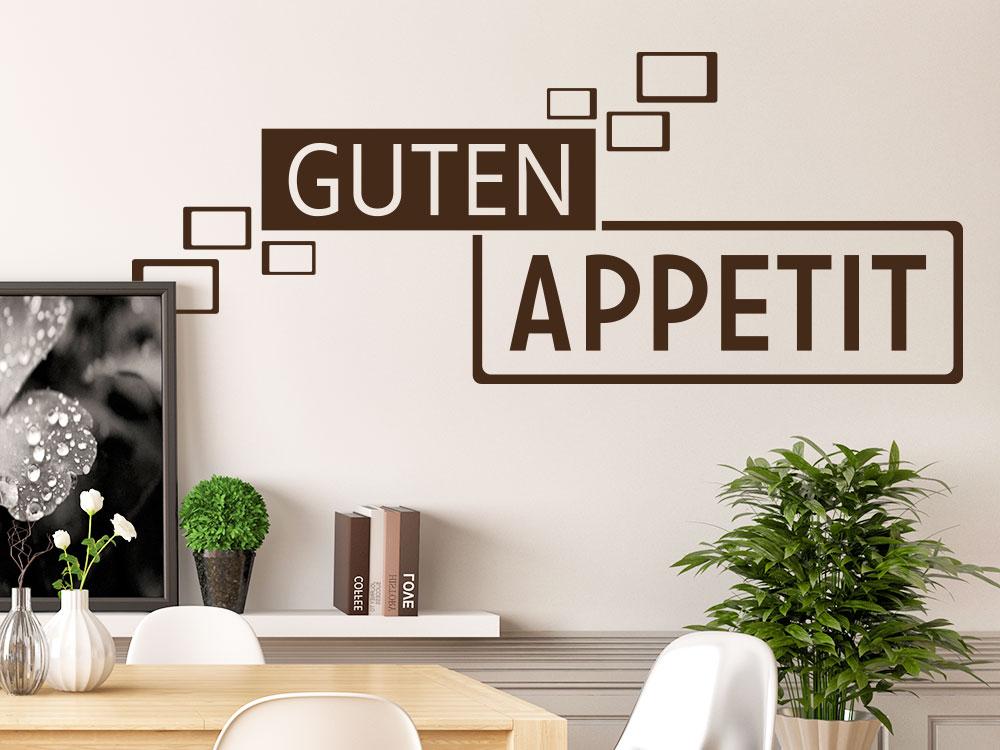 Wandtattoo Guten Appetit Retro Cubes Farbe braun auf Esszimmerwand