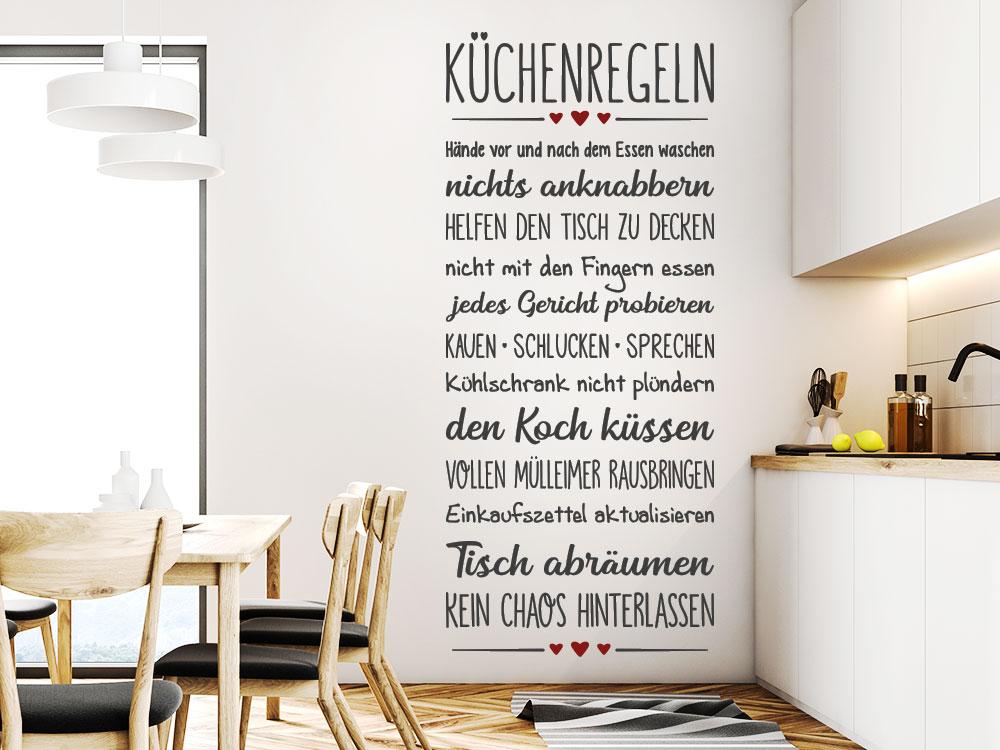Wandtattoo Banner Küchenregeln