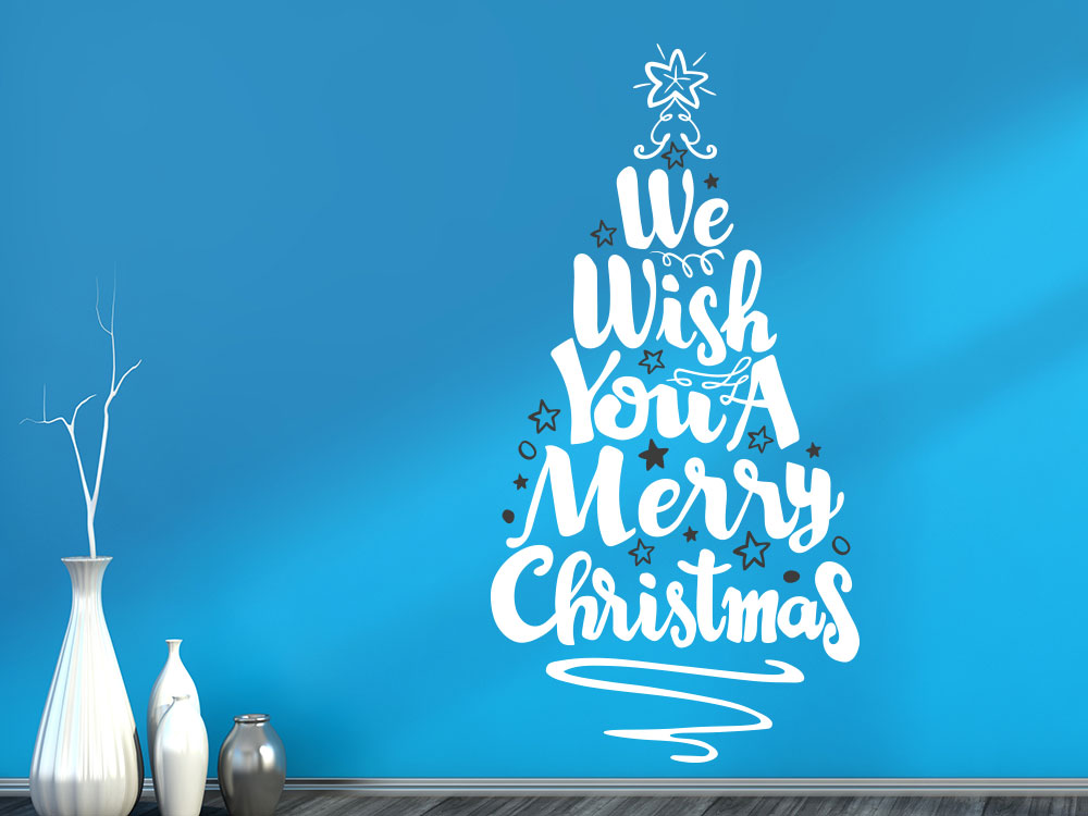 Wandtattoo Weihnachtsbaum Merry Christmas