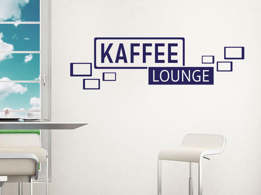 Wandtattoo Kaffee Lounge Retro Cubes auf heller Wand im Esszimmer